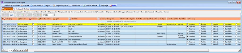 Szerviz szoftver: fő ablak a munkalapok áttekintésére